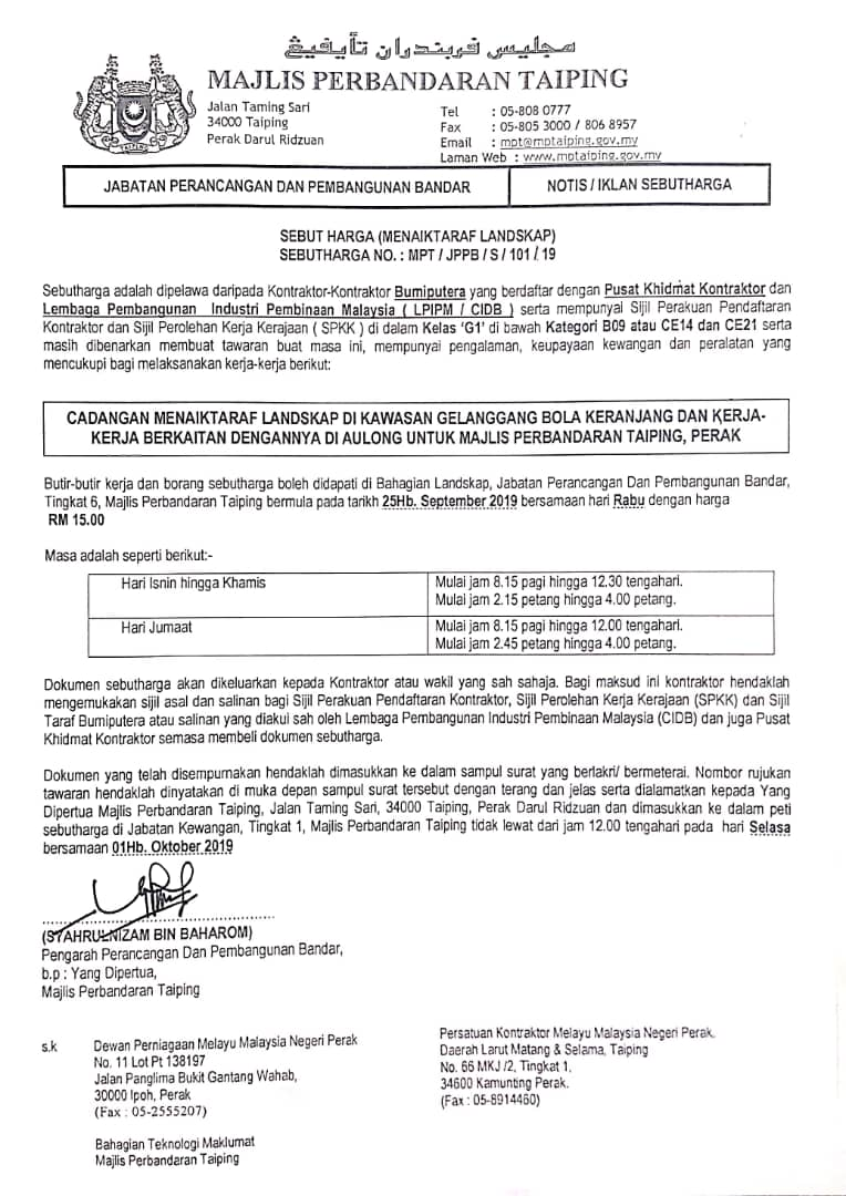 Tender Quotation Archives Official Portal Of Taiping